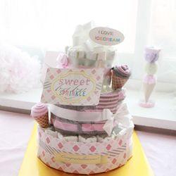핑크아이스크림 3단 기저귀케익(순면롬퍼+아기모자+미니타올)