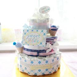 블루아이스크림 3단 기저귀케익(순면롬퍼+아기모자+미니타올)