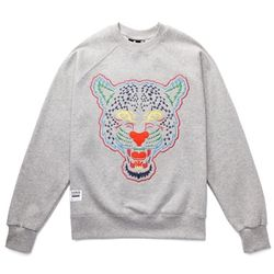 THUNDERBOLT LEOPARD SWEAT SHIRTS (GREY MELANGE)