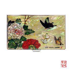 [남계우] 화접도 - 모란꽃과 나비 자개 휴대명함집