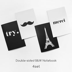 Double sided B&W Line Note 4set