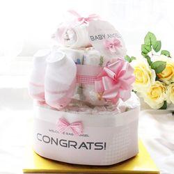 핑크 라떼 2단 기저귀케익(순면배넷저고리+아기양말+미니타올)