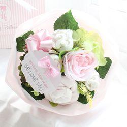 리틀엔젤 핑크 미디엄 아기옷부케(배넷저고리+턱받이+손싸개+발싸개+미니타올)