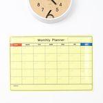 [4색마카 파우치+흡착판 증정] [영문]월간계획표 화이트보드시트지 70cm x 50cm
