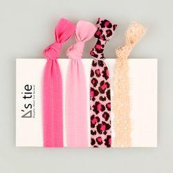 :: 엘라스틱 헤어타이 :: 핑크 레오파드 패턴 set