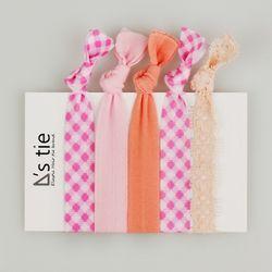 :: 엘라스틱 헤어타이 :: 피크닉 핑크 set