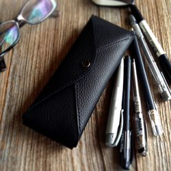가죽 펜파우치 Pencil Case Two Ways [Smoky Black]