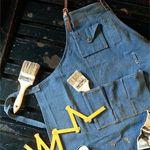 레더 믹스 데님 에이프런 : leather mix denim apron