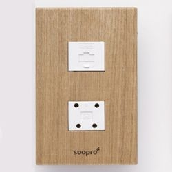 SOOPRO 나무콘센트(애쉬) 조합2구(전화+모듈라)