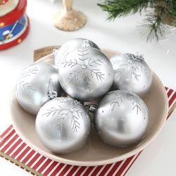 [크리스마스볼]실버눈꽃 글램볼 6P