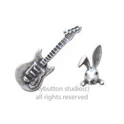 [Mybutton][SET]Bass guitar+Rabbit Pinbadge