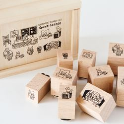 WOOD STAMP SET-GOOD COFFEE