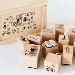 WOOD STAMP SET-CAFE OPEN
