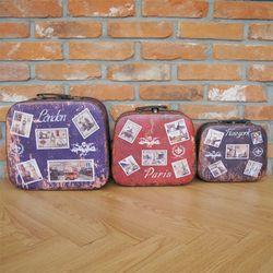 디자인 city stamp 여행가방 - Large (런던Blue)