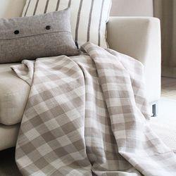 Natural Block Check Blanket Q 140x220