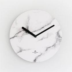 OBJECT CLOCK-WHITE MARBLE