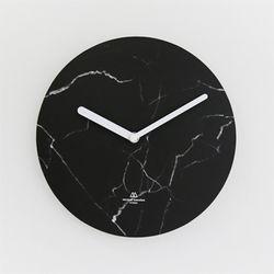 OBJECT CLOCK-BLACK MARBLE