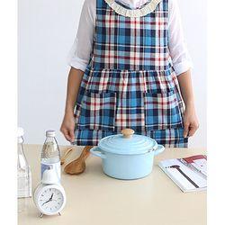 티탄체크 소녀앞치마(두건포함)2color
