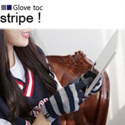 스마트폰터치장갑 stripe GrayNavy