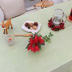 (대폭)크리스마스그린 띠레이스 원형방수식탁보 140cm