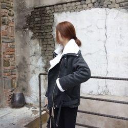 헤링본 양털 무스탕