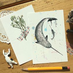 일각돌고래 일러스트 엽서
