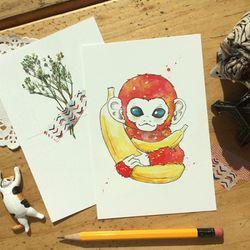 붉은 원숭이 일러스트 엽서