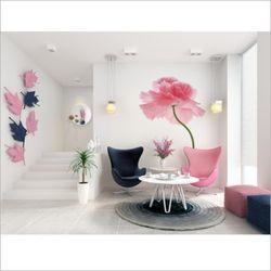 챠밍 꽃 포인트 벽지 뮤럴 벽지 침실 인테리어 벽지
