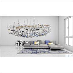 부두 디자인 뮤럴 포인트 벽지 요트 드로잉 아트벽지