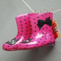 핑크 고양이 도트 레인부츠(160-200mm) 203108