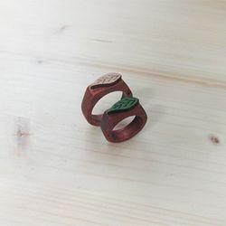 [우드링]체리목 나뭇잎 나무반지(2color)