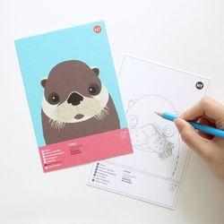 수달 멸종위기동물 컬러링 엽서 2in1