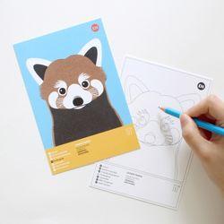 레서판다 멸종위기동물 컬러링 엽서 2in1
