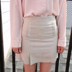 detail a-line linen skirt