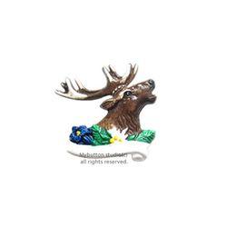 [Mybutton]Deer and Flower.사슴과 꽃 동화브로치