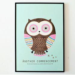 Mint owl A3 포스터액자