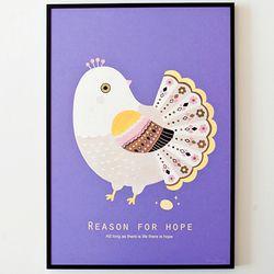 Lavender Peacock A3 포스터액자