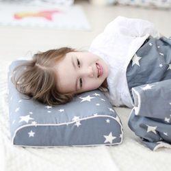 어린이굴곡베개(면속커버+프리미엄2) 아동 라텍스