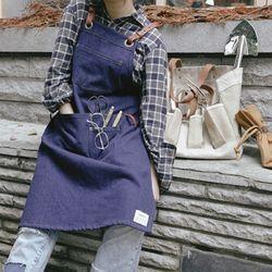 Cross strap denim apron:크로스 스트랩 데님에이프런