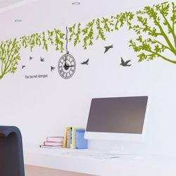 ik383-편안한휴식같은푸른나무숲그래픽벽시계(중형)