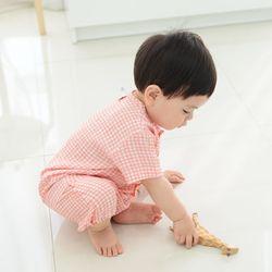 풍기인견 평직 피치체크 유아인견 상하복 3호