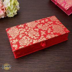 천년국화 비단 예단상자-빨강색