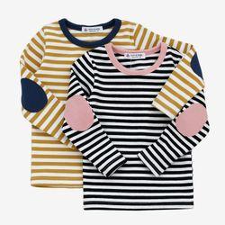스트라이프 배색 긴팔 라운드 티셔츠 T138