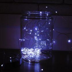 LED 50P 와이어 건전지(방수케이스) 전구 [백색]