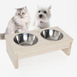 원목 애완동물식탁 2구 강아지 고양이 애견식기