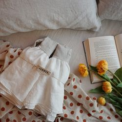린넨 베개커버 : Linen frill pillow cover-oatmeal