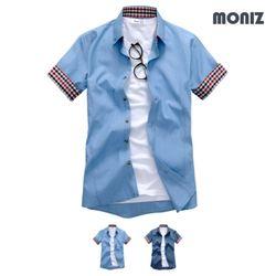 반팔 레인보우스티치 데님셔츠 (2color) SHB615