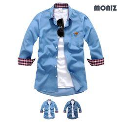 7부 데님 헨리넥 데님셔츠 (2color) SHB828