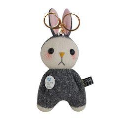 [양말인형]삑삑이 토끼 래빗정 키링(차콜)
