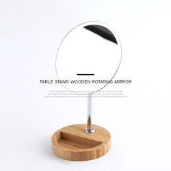 탁상 스탠딩 우드 회전 거울